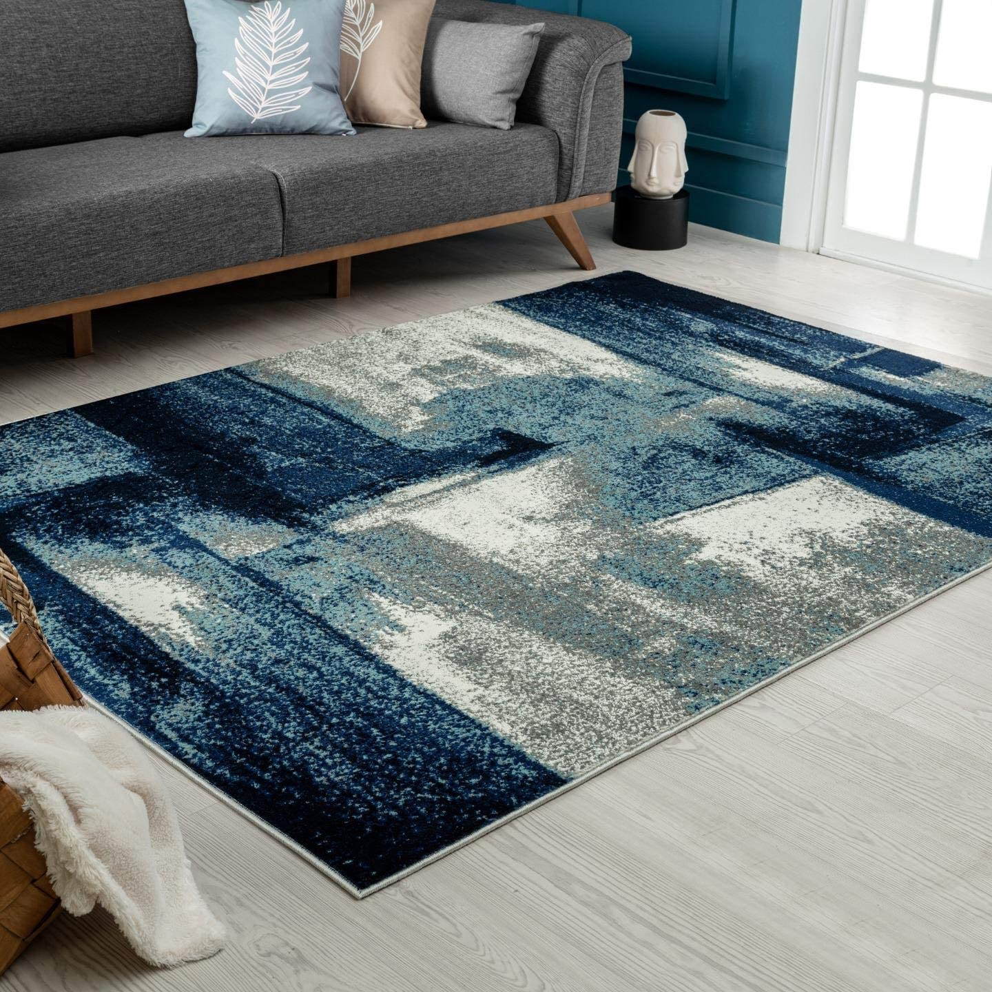 Luxe Weavers Rug - Lagos Collection 7558 Modern Abstract – Stain Resistant Area Rug / Navy 5' x 7'