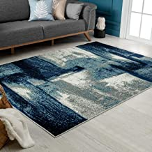 Navy Abstract Area Rugs