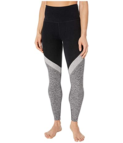 Beyond Yoga Tri-Panel Spacedye High Waisted Midi Leggings (Darkest Night/Silver Mist/Black/White) Women