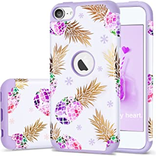 iPod Touch 5 Case,iPod 6 Pineapple Case,Fingic Floral Ultra Slim Case Hard PC Soft Silicone Protective Case Cover for Appl...
