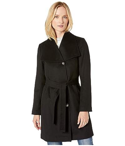 Vince Camuto Belted Single Breasted Wool Coat V29772 (Black) Women