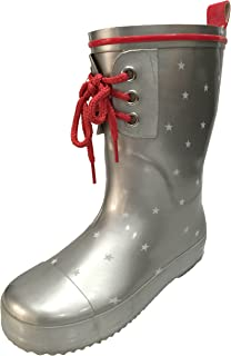 Toddler and Youth Girls Silver and Red Rain Boot Snow Boot with Stars Design and Lace in Front