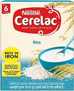 Nestlé CERELAC Fortified Baby Cereal with Milk, Rice - From 6 Months, 300g BIB Pack