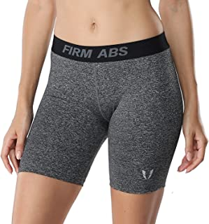 FIRM ABS Women's Middle Waist Flatlock Seams Compression Running Workout Sport Yoga Shorts