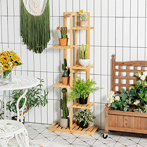 2021 Giantex popular 6 Tier 7 Potted Plant Stand, Bamboo Plant Shelf for Multiple Flower Pots Holder, Indoor Outdoor Plant outlet sale Display Rack Organizer Shelving Unit for Corner Patio Garden Balcony (6-Tier) sale