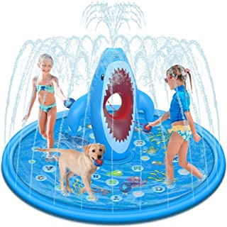 """Tobeape Splash Pad Sprinkler for Kids, Outdoor Water Play Mat with Sandbags Fun Game, """"from A to Z"""" Wading Pool for Learni..."""
