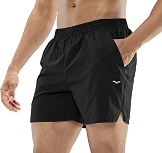MIER Men's Workout Running Shorts Quick Dry Active 5 Inches Shorts with Pockets, Lightweight and Breathable, Black