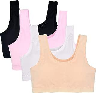 Girl's Seamless Foam Bra Cotton Crop Bralette Camisole Pack of 4