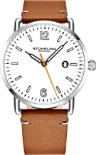 Stuhrling Original Mens Watch Leather or Bracelet Watch Band Silver Dial with Date Minimalist Style 38mm Case - 3901 Watches for Men Collection