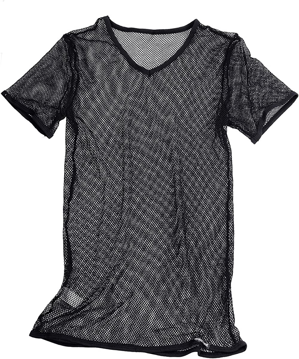 Max 90% OFF Freebily Men's Breathable Fishnet See Short Through All items in the store Sleeve T-Shi