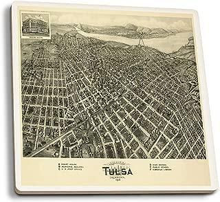 Lantern Press Tulsa, Oklahoma - (1918) - Panoramic Map (Set of 4 Ceramic Coasters - Cork-Backed, Absorbent)