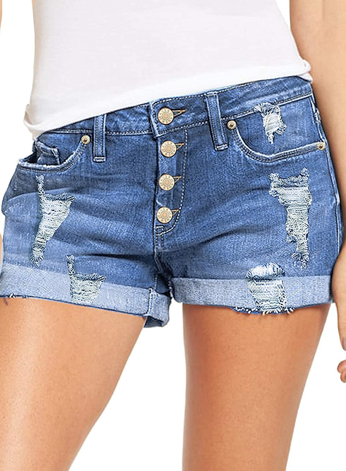 luvamia Women's 1 year warranty Ripped Denim Jean Shorts Waisted F Stretchy Sale price High