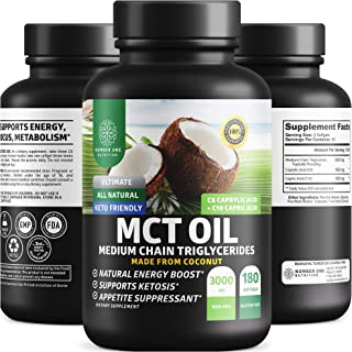 N1N Premium MCT Oil Keto Supplement [3000 MG, 100% Pure Coconut Oil C8/C10] Natural Keto Fuel for Energy, Weight Loss & Br...