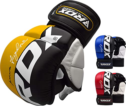 RDX MMA Gloves for Martial Arts Training and Grappling, Approved by SMMAF, Open Palm Maya Hide Leather with Long Wris...