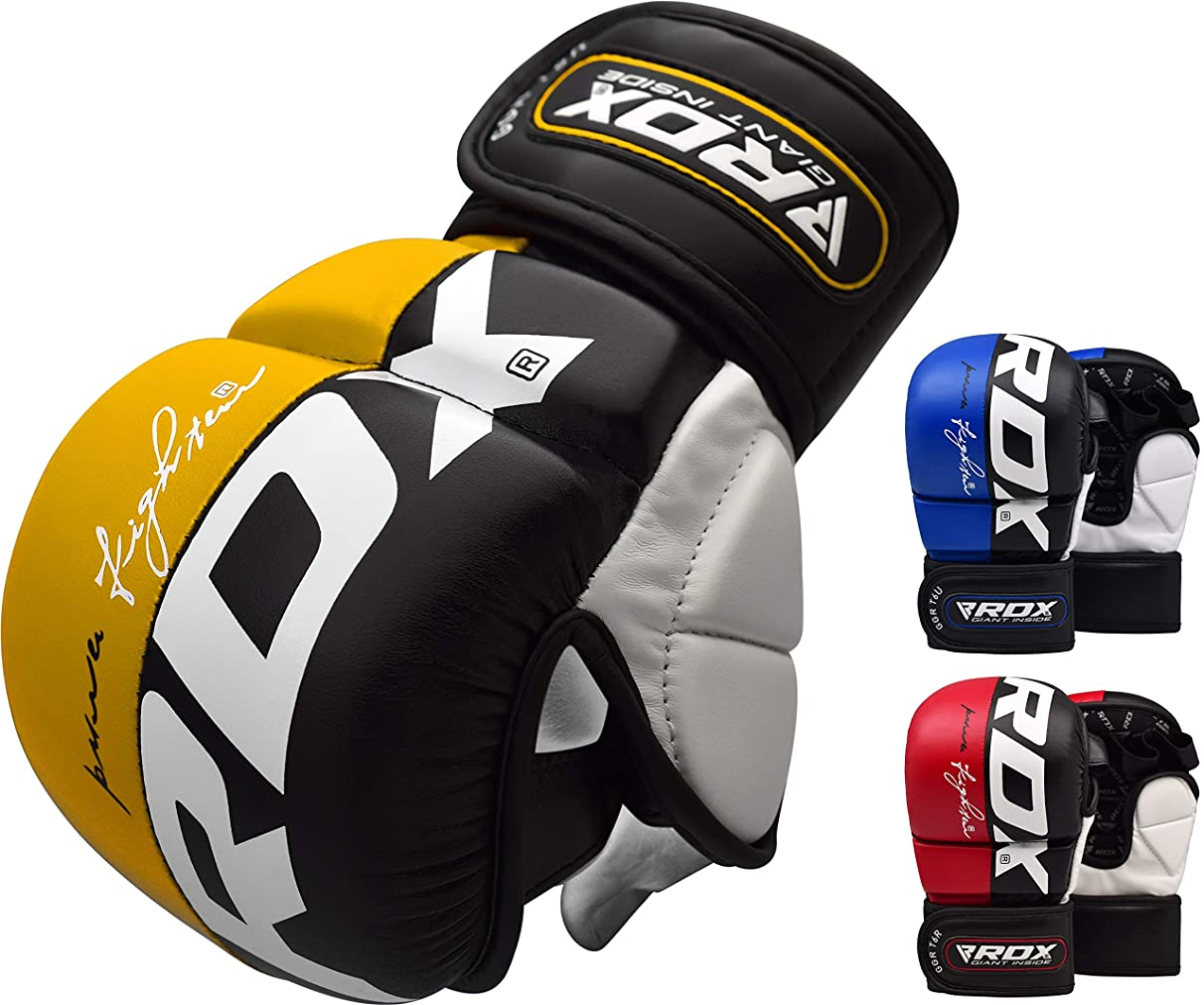 RDX MMA Gloves Grappling Sparring Martial Arts Cowhide Leather Training Cage Fighting Combat Punching Bag Gel Mitts
