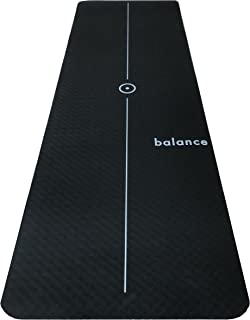 Aspire Yoga Gear Balance YOGA MAT with centre line - Eco-Friendly, Non Slip, Two Sided Black, High Density and Lightweight - 72