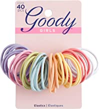 Goody Ouchless Medium Hair Elastics 2mm, 40 Count (Assorted colors)