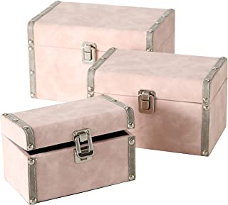 Set of 3, Pale Pink and Grey Decorative Baby Trunks, Stackable, Faux Suede Over Wood, Silver Metal Hardware, Flip Latch, Studs, White Stitched Details, Fabric Lining, Wood, 9, 7.75, 6.75 Inches