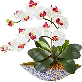 Nearly Natural Phalaenopsis Orchid Artificial Vase Silk Arrangements, White
