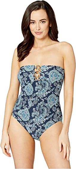 Sweetheart Paisley Bandeau One-Piece