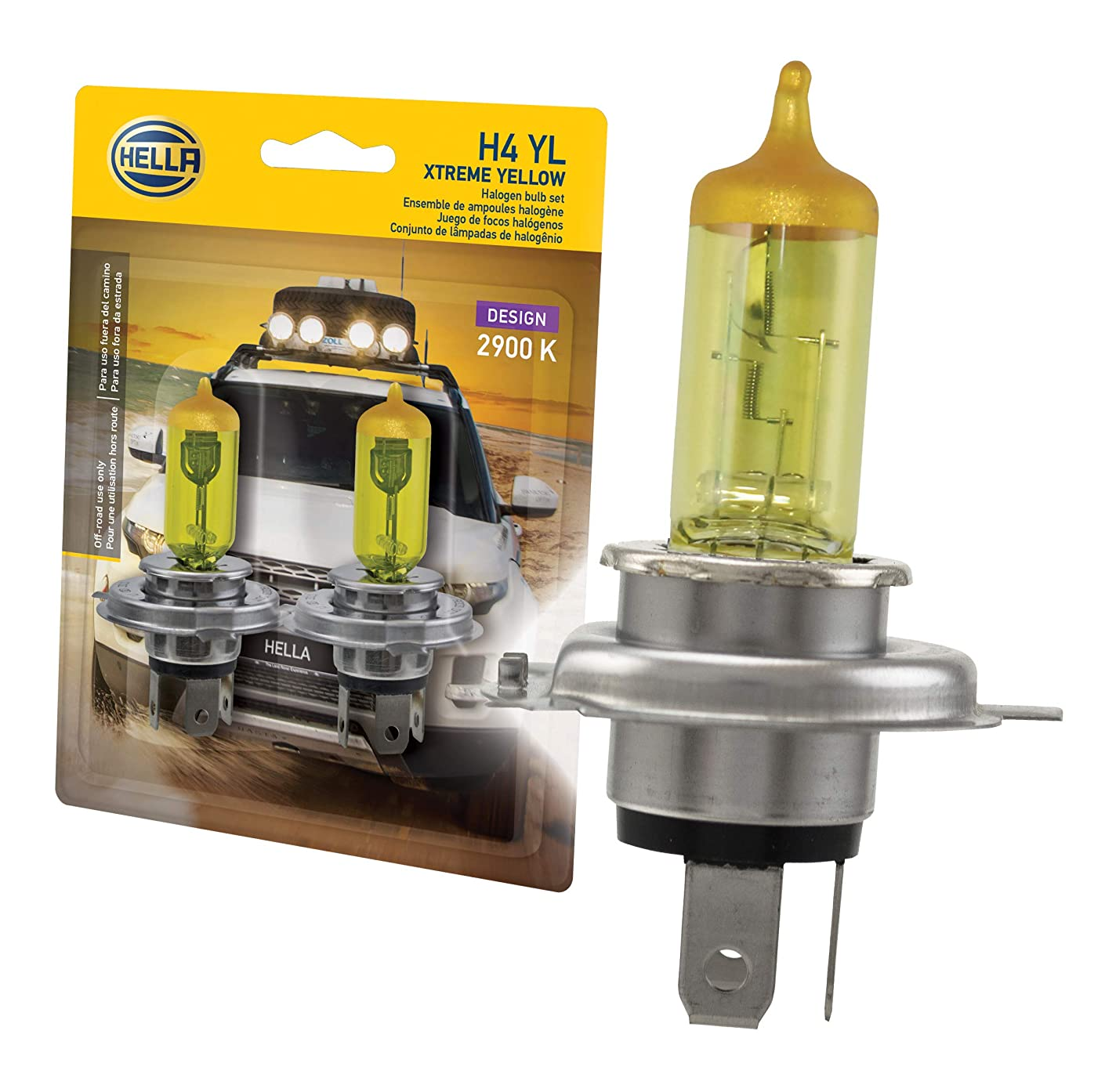 HELLA H4 Yellow-60/55W YL Xtreme Yellow Bulbs, 12V, 60/55W, 2 Pack