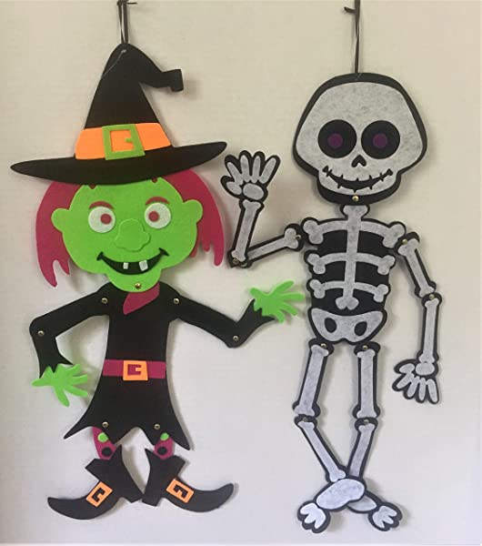 Halloween 2 Jointed 23 Skeleton And Witch Felt Door Wall Hangers