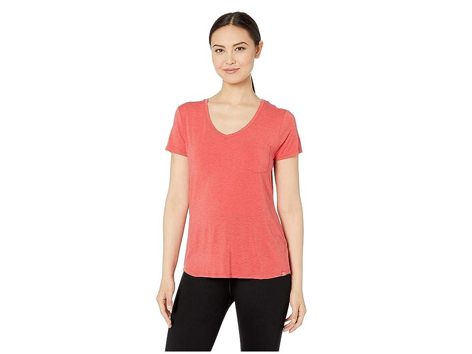 Prana Foundation Short Sleeve V-Neck Top (Rhubarb Heather) Women