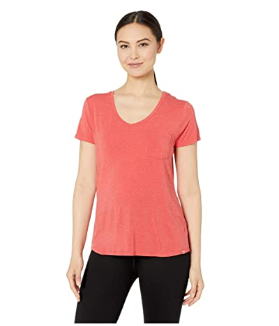 Prana Foundation Short Sleeve V-Neck Top (Rhubarb Heather) Women