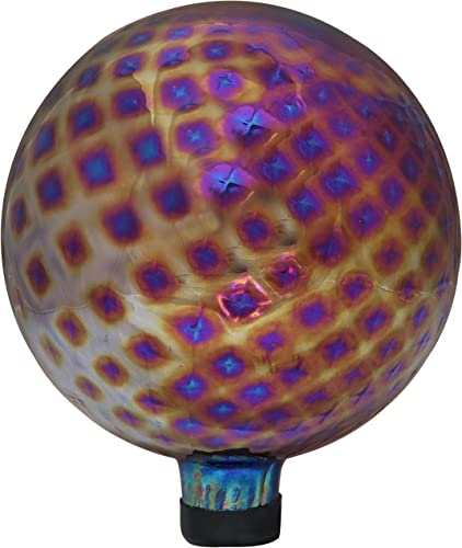 wholesale Sunnydaze Jewel Tone Trellis Gazing Ball - Red wholesale Diamond Pattern Decorative Glass Garden Globe Sphere - outlet online sale Outdoor Patio, Lawn and Yard Orb Ornament - 10-Inch outlet sale