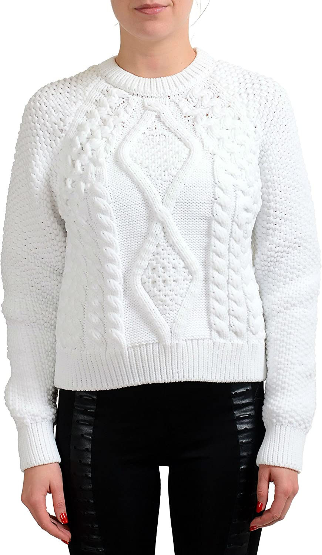 MAISON MARGIELA MM6 White Heavy Knitted Women's Crewneck Sweater US M IT 42