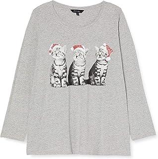 ULLA POPKEN Weihnachtsshirt Katze, A-Line T-Shirt, Hellgrau, Grandi Formati Donna