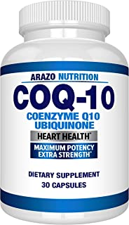 CoQ10 Ubiquinone Coenzyme Q10-200mg Maximum Strength Nutritional Supplement - High Absorption Capsules with No Soy - Arazo...