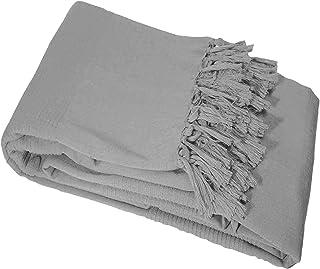 comprar comparacion Nuances Du Monde Coton tisse Lana Gris Manta, 150x 150cm