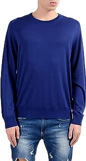 Men's 100% Wool Blue Crewneck Sweater Size US XL IT 54