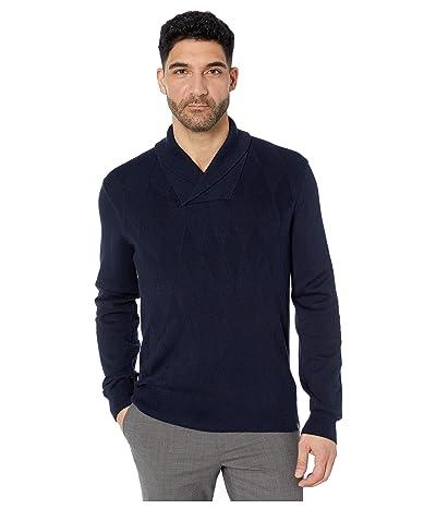 Perry Ellis Argyle Shawl Collar Long Sleeve Sweater (Dark Sapphire) Men