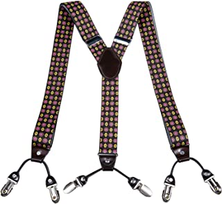 Buckletown Mens Mustache Pattern Y-Shape Stretch Suspenders Black//White ACCmall