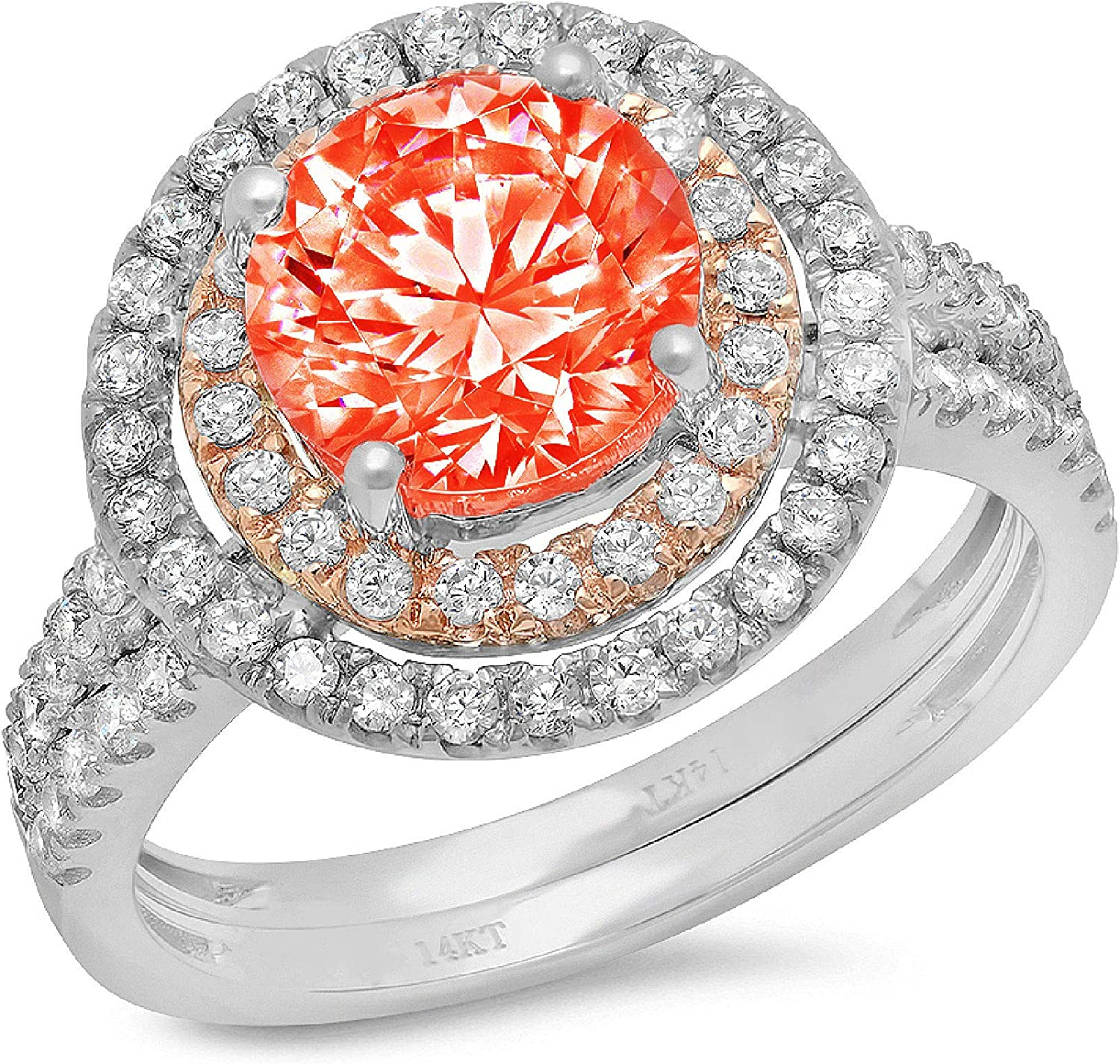 2.89ct Round Cut Halo Pave Red Selling National uniform free shipping Ideal Accent Solitaire VVS1