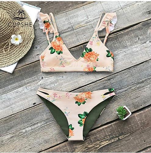KMCC Ensembles de Bikini réversible imprimé Floral à Volants Femmes Thong Deux pièces Maillots de Bain Fille plage Maillots de Bain