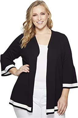 Plus Size Bell Sleeve Cardigan w/ Stripe Hem