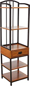 Home Styles Modern Craftsman Distressed Oak Gaming Tower with One Drawer, Four Fixed Shelves, Poplar Solids and Oak Veneers, and New Age, Brown Metal Accents