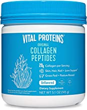 Vital Proteins Collagen Peptides Powder Supplement (Type I, III) for Skin Hair Nail Joint - Hydrolyzed Collagen - Dairy and Gluten Free - 20g per Serving - Unflavored 5 oz Canister