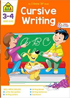 School Zone - Cursive Writing Workbook - 64 Pages, Ages 8 to 10, 3rd Grade, 4th Grade, Practice Handwriting, Tracing, Lett...
