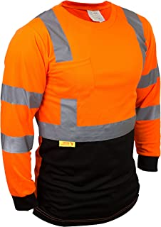 Troy TSBFL8711 Class 3 High Visible Long Sleeve Black Bottom Safety T Shirts Moisture Wicking Mesh with 2 Inch Replective Tapes (Orange, Extra Large)