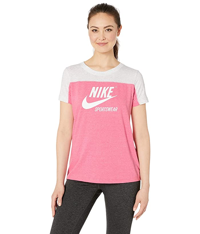 Nike Sportswear Gym Vintage Top Short Sleeve Graphics (Birch Heather/Lotus Pink/Lotus Pink/Sail) Women