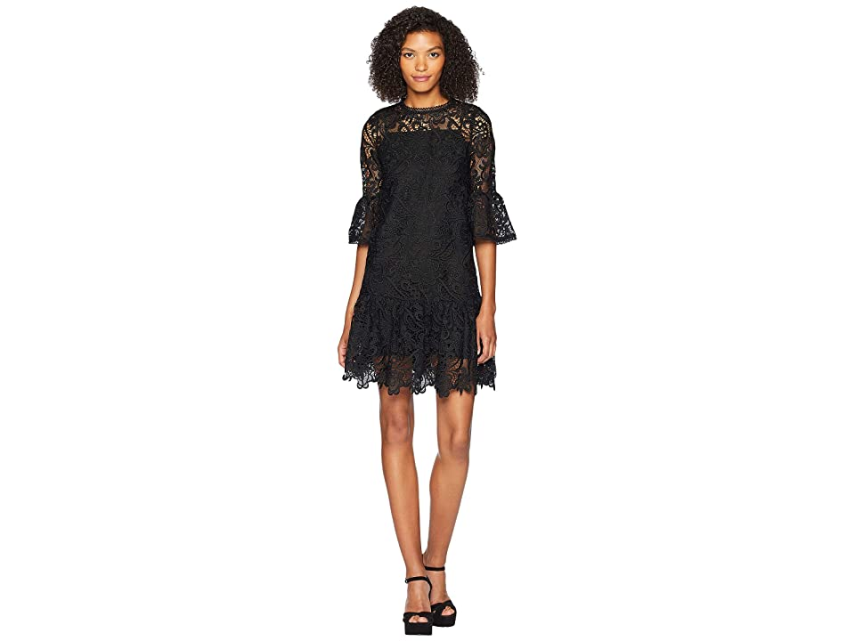 ML Monique Lhuillier Short Sleeve Dress with Sleeve and Skirt Ruffle (Black) Women