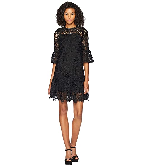 ML Monique Lhuillier Short Sleeve Dress with Sleeve and Skirt Ruffle