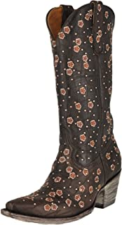 """Old Gringo L2463-3 Chocolate Byroni 13"""" Shaft Floral Crystal Boots"""
