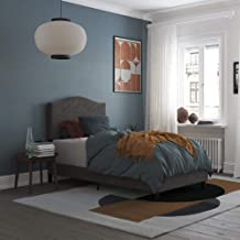REALROOMS Mason Upholstered Panel Bed, Strong Steel Slat Support, Twin Size Frame, Grey Linen