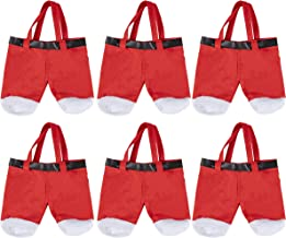 Christmas Candy Gift Bags - 6-Pack Santa Claus Pants Style Holiday Treat Tote Bags, Festive Party Favors Supplies, For Kids and Adults, Red and White, 11.5 x 9 Inches