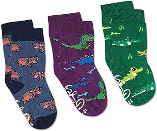 Hippopotamus, Crocodiles and Dinosaurs Kids Toddler Socks, 3-Pack